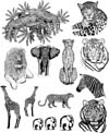 African Animals Unmounted Rubber Stamp Sheet
