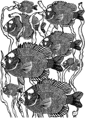Fish in Seaweed Background Unmounted Rubber Stamp