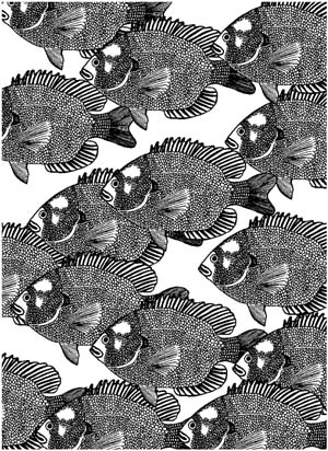 Small Fish Background Unmounted Rubber Stamp