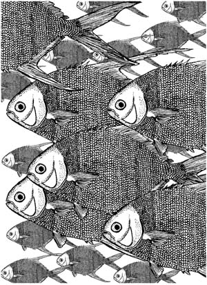 Large Fish Background Unmounted Rubber Stamp