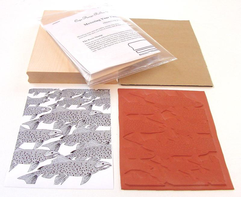 Chinook Salmon Background Unmounted Rubber Stamp Kit