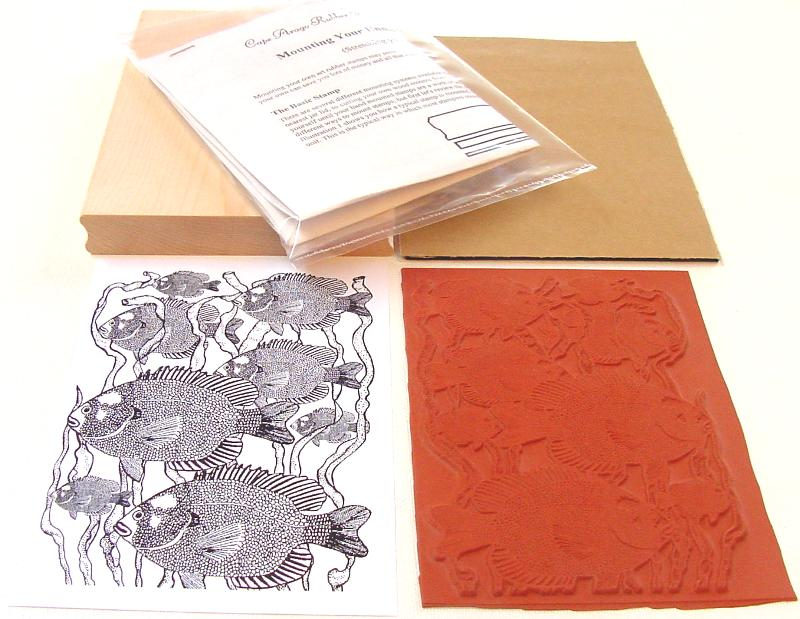 Fish in Seaweed Background Unmounted Rubber Stamp Kit
