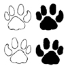 Big Cat Paw Prints Set of 4 Unmounted Rubber Stamps