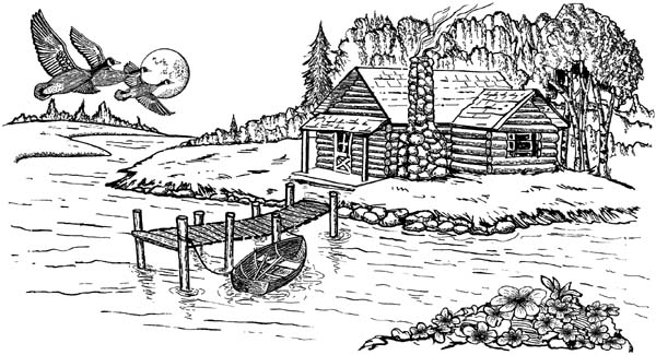 Cabin on Lake Unmounted Rubber Stamp