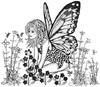 Fairy Kneeling in Flowers Unmounted Rubber Stamp