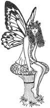 Fairy Sitting on Toadstool Unmounted Rubber Stamp