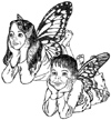 Fairy Girl and Boy Unmounted Rubber Stamp