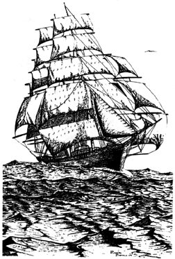Tall Sailing Ship Unmounted Rubber Stamp