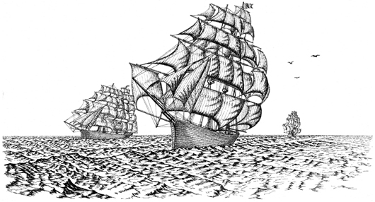 Three Tall Sailing Ships Unmounted Rubber Stamp