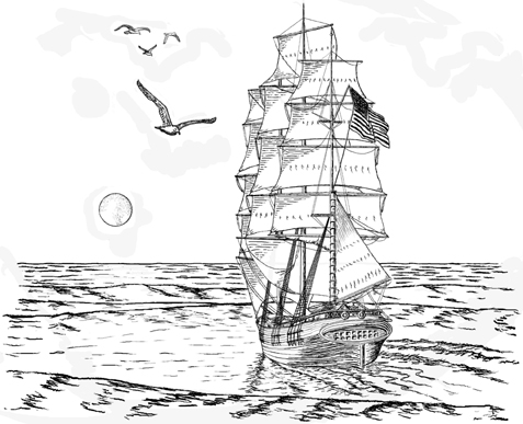 Tall Sailing Ship with Moon Unmounted Rubber Stamp