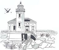 Coquille River Bandon Lighthouse Unmounted Rubber Stamp
