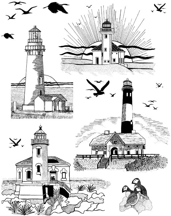 Lighthouses Unmounted Rubber Stamps