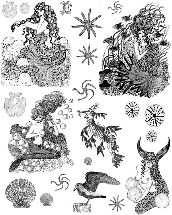 Mermaids Vol 1 Unmounted Rubber Stamps
