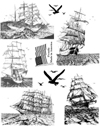 Tall Sailing Ships Unmounted Rubber Stamp Sheet