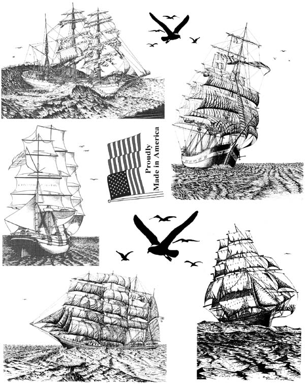 Tall Sailing Ships Unmounted Rubber Stamps