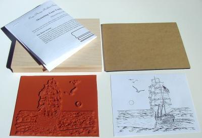 Tall Sailing Ship with Moon Unmounted Rubber Stamp Kit