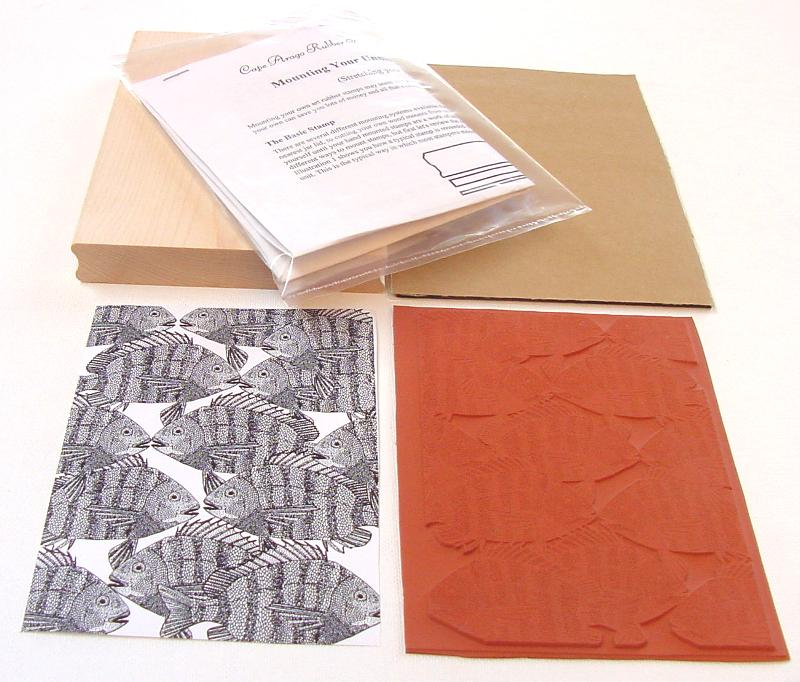 Striped Fish Background Unmounted Rubber Stamp Kit