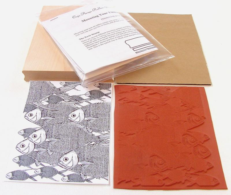 Large Fish Background Unmounted Rubber Stamp Kit